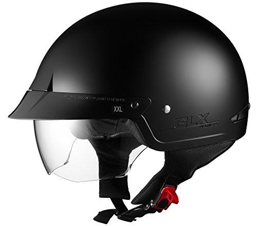 GLX Harley Cruiser Motorcycle Half Helmet DOT Approved  2 Visors Matte Black Large