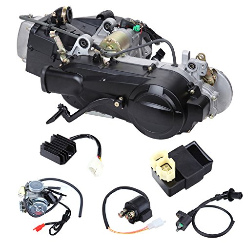 Ambienceo 125CC 150CC GY6 Single Cylinder 4-Stroke Motor Engine for Scooter ATV Go Kart Dirt Bike with Kick Start Lever Carburetor CDI Starter Solenoid Coil Short Case
