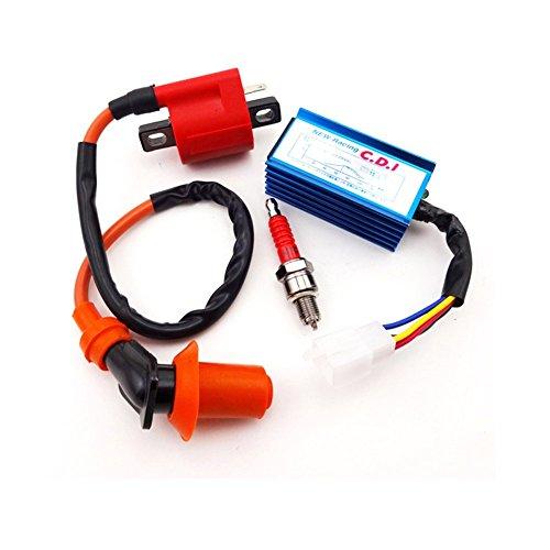 TC-Motor Racing AC CDI Box  Ignition Coil  Red A7TC Spark Plug For XR50 CRF50 Pit Dirt Bike Motorcycle 70cc 90cc 110cc 125cc Engine ATV Quad