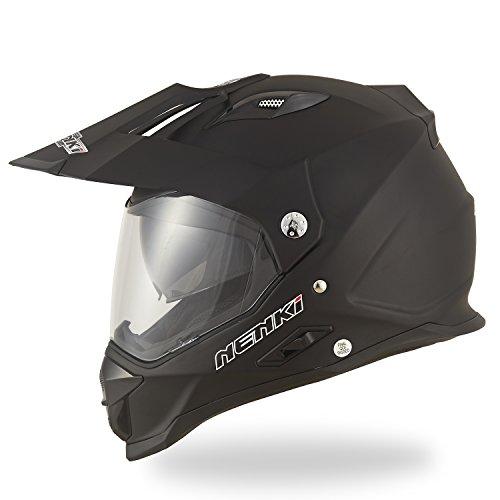 Dual Sport Helmet by NENKI NK-313 Full Face Motocross Motorcycle Helmets Dot Approved With Dual Visors MATT BLACK M 225-229 INCH
