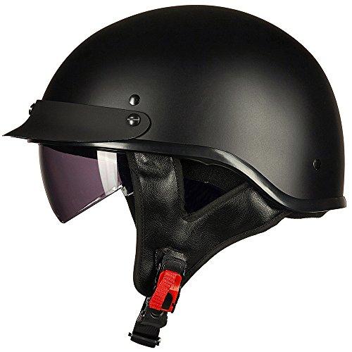 ILM Half Helmet Motorcycle Open Face Sun Visor Quick Release Buckle DOT Approved Cycling Motocross Suits Men Women M MATT BLACK