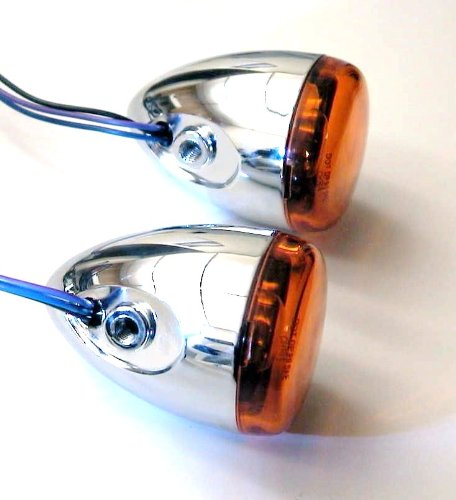 HARLEY MOTORCYCLE REAR DEUCE BULLET CHROME TURN SIGNALS SPORTSTER DYNA HDS 2002-2013