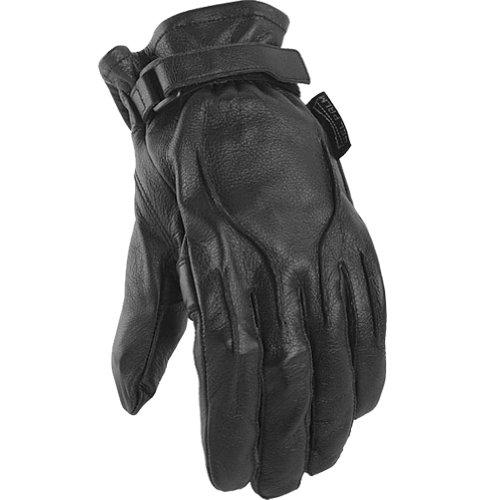 Power-trip Jet Black Women's Leather Harley Touring Motorcycle Gloves - Black / Medium