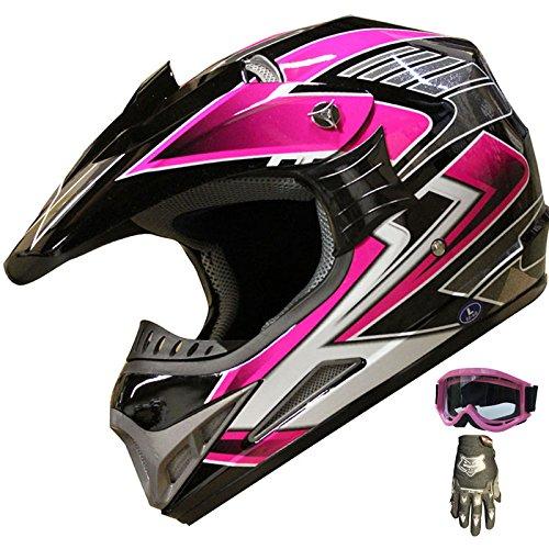 ATV Motocross Helmet Off Road Dirt Bike Helmet Combo 189 pinkglovesgoggles M
