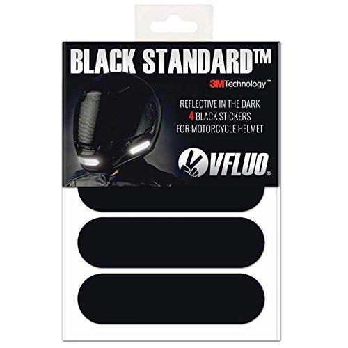 VFLUO BLACK STANDARD™ 4 retro reflective stickers kit for Motorcycle Helmet Night visibility 3M Technology™ Black