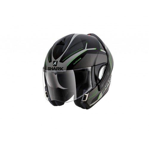 Shark Evoline Series 3 Hataum Matt Black Silver Green Helmet XL
