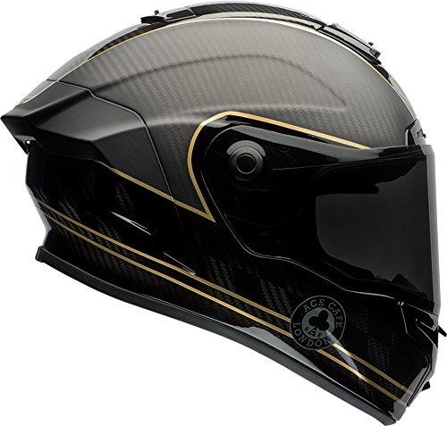 Bell Race Star Ace Café Speed Check Full-Face Motorcycle Helmet GlossMatte BlackGold Large