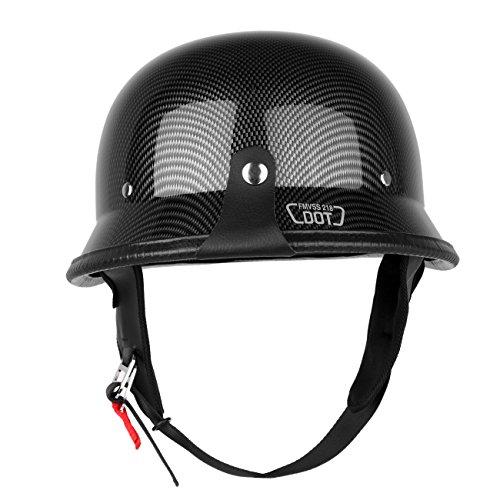 Iglobalbuy Half Helmet DOT Carbon Fiber German Style Motorcycle Cruiser Custom Airsoft Paitball Biker MLXL XL