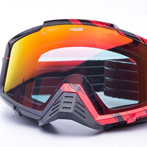 RIALLI Fashion Motorbike Goggles Dirt Bike Scooter ATV Riding Cruiser Helmet Glasses Eyewear - RedBlack