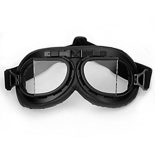 WWII RAF Vintage Pilot Style Black Frame Biker Café Racer Cruiser Helmet Goggles