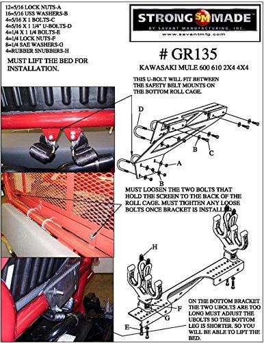 2005-2013 Kawasaki Mule 610 4X4 Cage Mount Gun Rack By Strong Made GR135