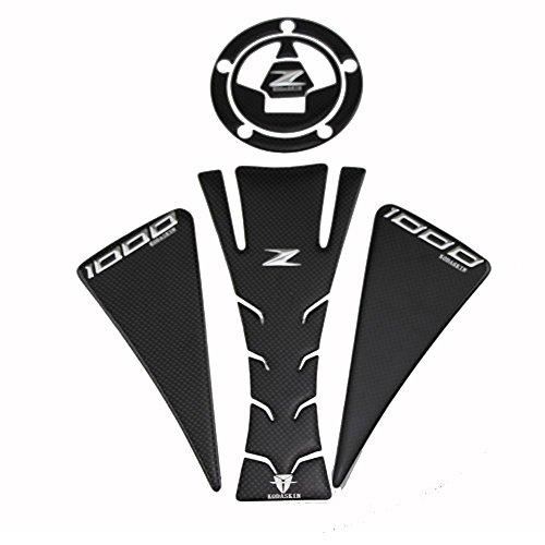 PRO-KODASKIN 3D Carbon Gas Cap Tank Pad Sticker Emblem Decal for Kawasaki Z1000 12-15