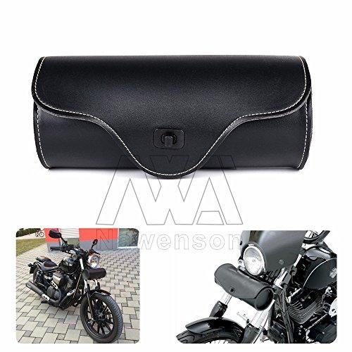 Nawenson Newest Motorcycle Saddlebag Side Bag Black PU Leather Barrel Tool Bag Motorbike Saddle Bag For Sportster Touring Motorcycle Parts