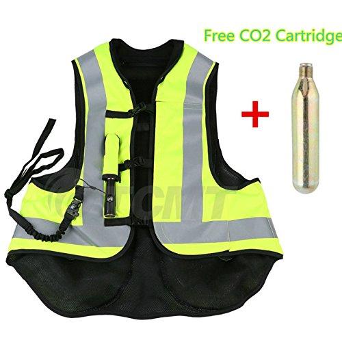 TCMT Airbag Motorcycle Airnest Air Bag Vest Hi Visibility w CO2 Cartridge L Black  Fluorescent yellow