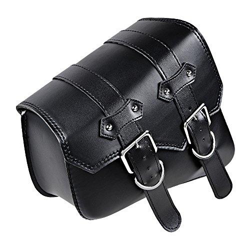 For Harley Sportster XL883 XL1200 Black PU Leather Left Swing Arm Saddle Bag