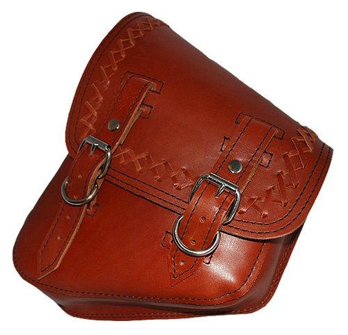 La Rosa Harley-Davidson Softail Rigid Brown Leather Cross Lace Left Swing Arm Saddle Bag
