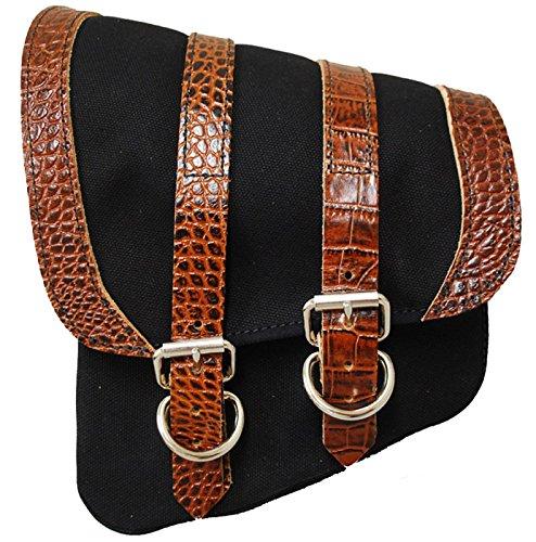 La Rosa Harley Softail Rigid Black Canvas Brown Alligator Emboss Leather Trim Left Swing Arm Saddlebag