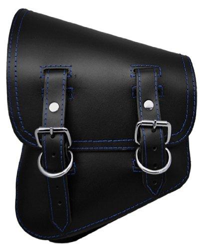 LaRosa Harley-Davidson Softail Bobber Rigid Black Leather Left Swing Arm Saddle Bag w Blue Stitching