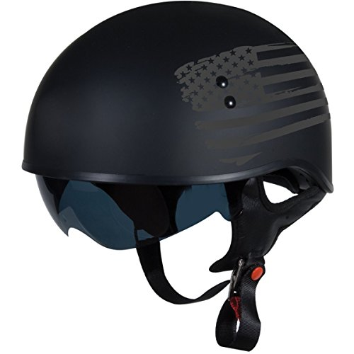 "TORC T55 Spec-Op Half Helmet with Flag"" Graphic Flat Black Large"