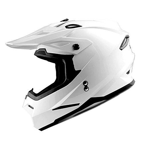 1Storm Youth Motocross Helmet BMX MX Bike Helmet Teenager Racing Style DOT Glossy White