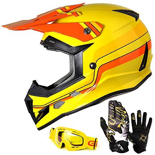GLX Unisex-Child GX623 DOT Kids Youth ATV Off-Road Dirt Bike Motocross Helmet Gear Combo Gloves Goggles for Boys Girls Retro Yellow Large