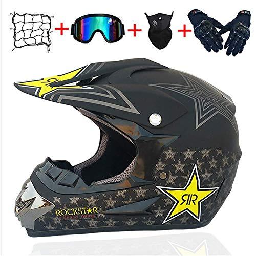 LDJ Motocross Helmet and Glasses Gloves Mask Motorcycle Net 5 Pieces in Total Motocross Helmet Motorcycle Helmet Safety Helmet Kit for ATV Downhill Mountain Bike Safety A3L