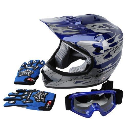 TCMT DOT Approved Youth Blue Flame Dirt Bike ATV MX Motocross Helmet Goggles  Gloves S M L Large