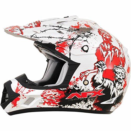 AFX FX-17 Zombie Mens Motocross Helmets - WhiteRed - X-Small