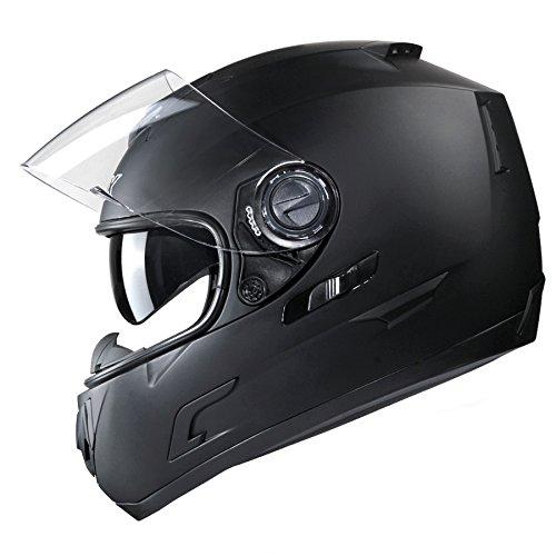 GLX Full Face Street Bike Motorcycle Helmet Dual Visor Sun Shield Matte Black DOT