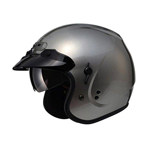 GMAX GM32 Unisex-Adult Open Face Motorcycle Street Helmet with Flip-Down Sun Shield Titanium Medium