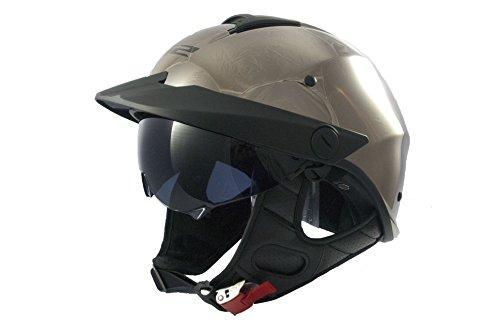 LS2 Helmets Rebellion Solid Unisex-Adult Half-Size-Helmet-Style Helmet with Sun Shield Black Chrome Large