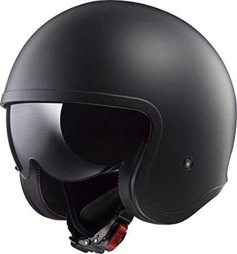 LS2 Helmets Spitfire Bobber Vintage style Open Face Helmet with sun shield Solid Matte Black Large