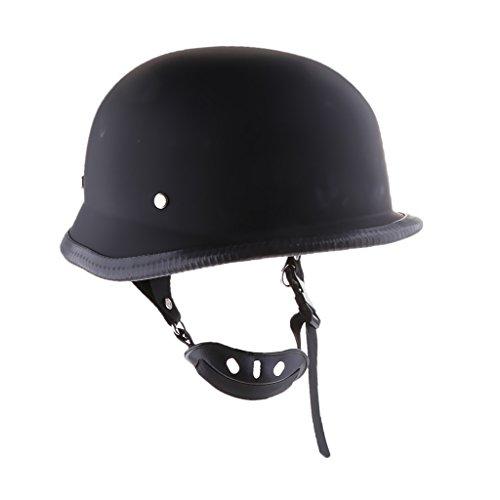 MonkeyJack Motorcycle Cruiser Adult Mens Vintage German Half Helmet Sun Shield for Harley Black - Black XL XXL