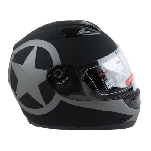 Tengchang New Matte Black Star Dual Visor Full Face Motorcycle Helmet  Smoke Sun Shield XX-Large 63-64CM