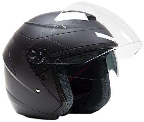 Typhoon Helmets Open Face 34 Helmet w Integrated Sun Shield - Matte Black - Medium