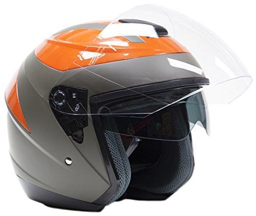 Typhoon Helmets Open Face 34 Helmet w Integrated Sun Shield - Orange - XL