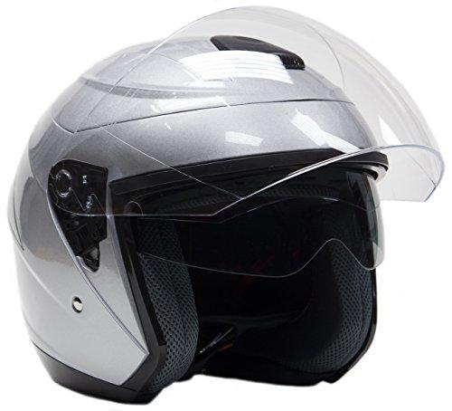 Typhoon Helmets Open Face 34 Helmet w Integrated Sun Shield - Silver - XL
