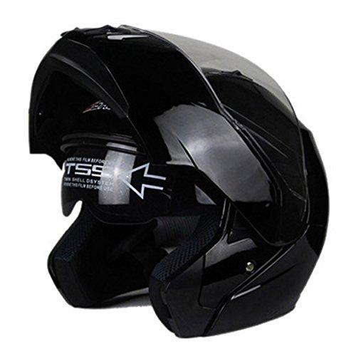 Woljay Motorcycle Street Bike ModularFlip up Dual VisorSun Shield Full Face Helmet XXL Black