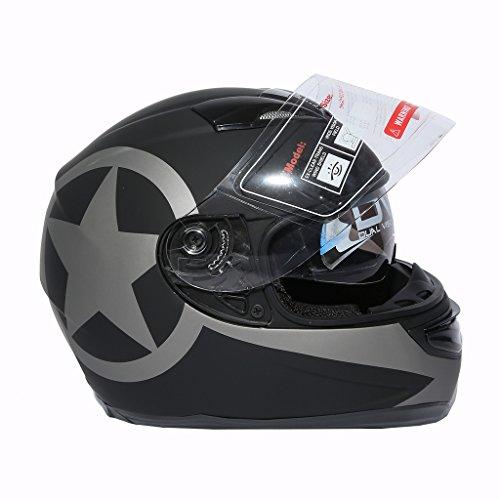 XFMT Dot Black Star Matte Dual Visor Full Face Sun Shield Motocycle Helmet L