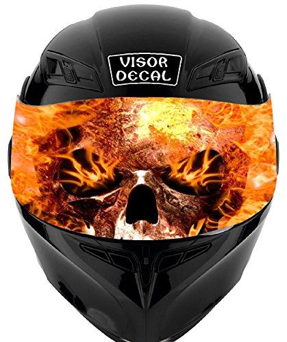 V28 Skull Flames VISOR TINT DECAL Graphic Sticker Helmet Fits Icon Shoei Bell HJC Oneal Scorpion AGV