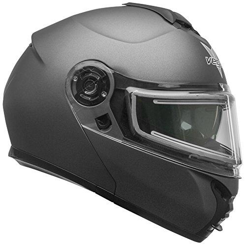 Vega Helmets unisex-adult flip-up-helmet-style Electric Snow Helmet Matte Titanium X-Large 1 Pack