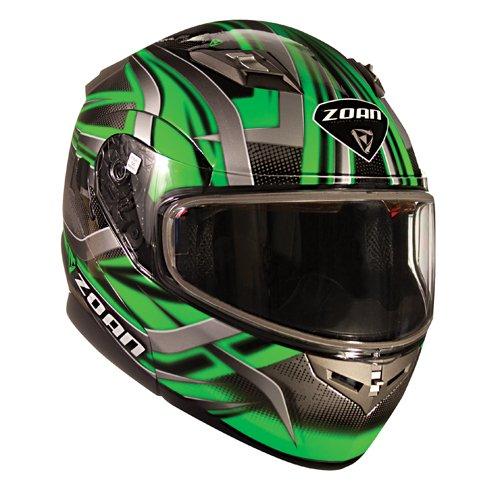 Zoan Flux 41 Devil Green Electric Lens Shield Modular Flip Up Snowmobile Helmet Small