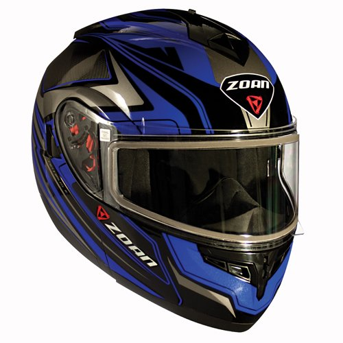 Zoan Optimus Eclipse Blue Electric Lens Modular Flip Up Snowmobile Riding Helmet X-Large