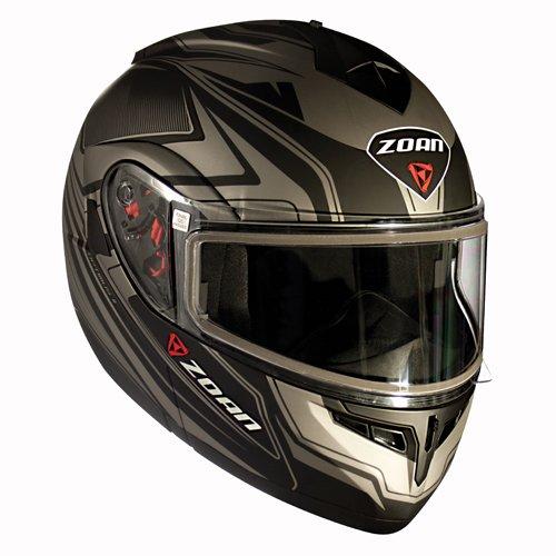 Zoan Optimus Eclipse Silver Electric Lens Modular Flip Up Face Snowmobile Helmet X-Large