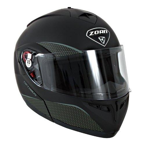 Zoan Optimus Matte Black Electric Dual Lens Modular Flip Up Snowmobile Helmet X-Large