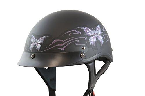 VCAN V531 Intricate Butterfly Flat Black Medium Half Helmet