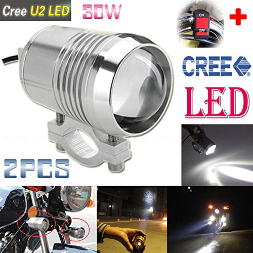 GOODKSSOP 2PCS Super Bright CREE U2 30W LED Spotlight Headlight Work Light Driving Fog Spot Lamp Universal for All Motorcycle ATV Truck With 1pcs ONOFF Button Switch