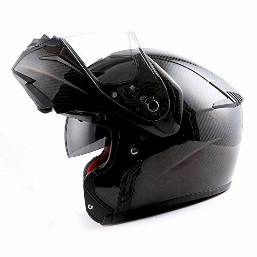 MARS Genuine Real Carbon Fiber Motorcycle Modular Flip up Full Face Helmet Black 35 lb DOT Approved