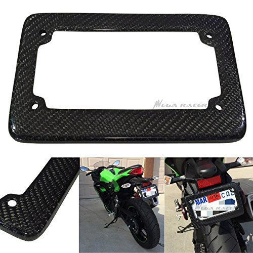 Motorcycle JDM Style 100 Real Carbon Fiber License Plate Frame Holder Black 3D Twill Weave Tag US Scooter Chopper Bike