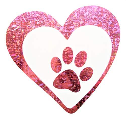 Paw Pink Reflective Decal Vinyl PVC 4x375 Foot Dog Holographic Footprint Lover Safety Cat Tiger Animal Love Heart Sticker Sport Motorbike Helmet Motorcycle Bike Racing Car Badge Sticker Door Decals Reflector Window Tailgate